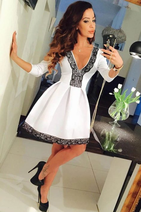 White Flared Trim Lace Short One Piece Dress